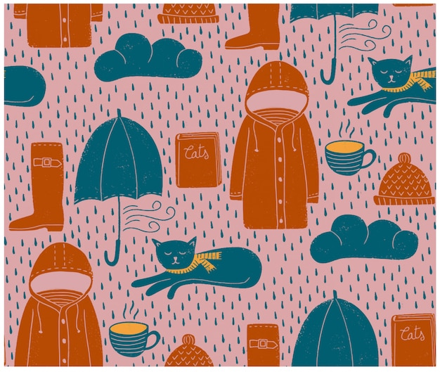 雨の日のシームレスパターン