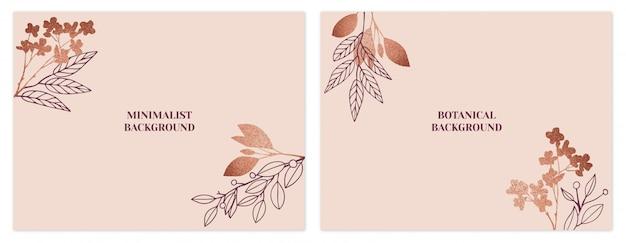 ローズゴールドのミニマリストの花の背景セット