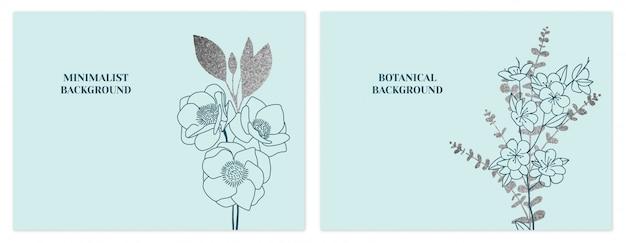 ミントとシルバーのミニマリストの花の背景のセット