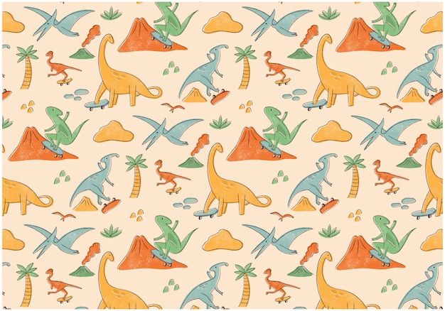 Конькобежец динозавров бесшовный фон