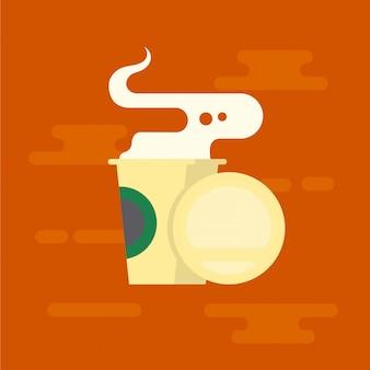 コーヒーや紅茶のプラスチック製のコップ。コーヒーショップ商品。平らな設計図