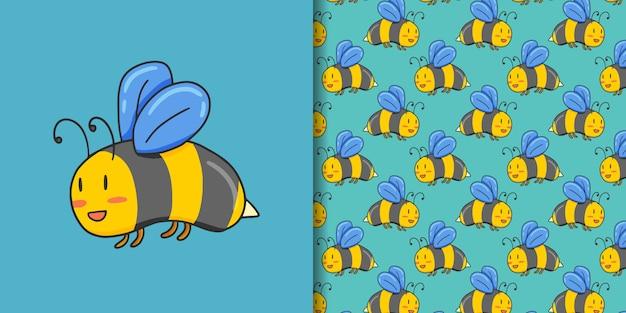Ручной обращается милая пчела с бесшовный фон
