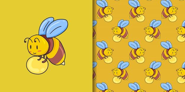 Пчелиный мед и бесшовный узор на желтом
