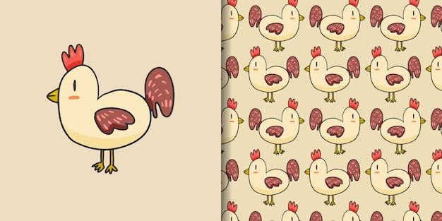 かわいい鶏漫画手描きスタイル