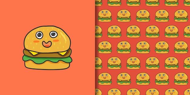 かわいいハンバーガー漫画手描きスタイル