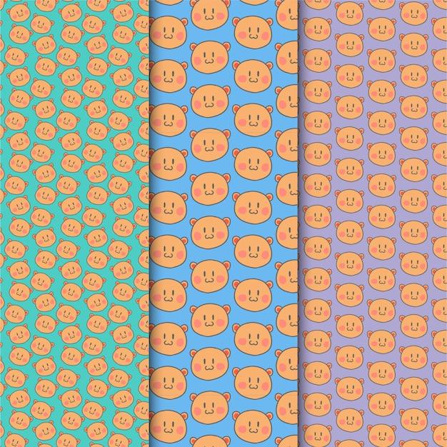 カラフルに設定されたクマのパターン
