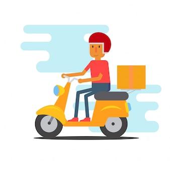 Мотоцикл курьер человек плоский дизайн