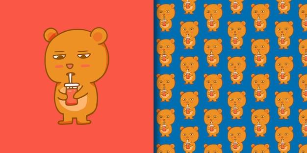 手描きのシームレスなパターンでかわいいクマ