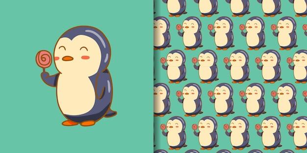 ロリポップ漫画のかわいいペンギン