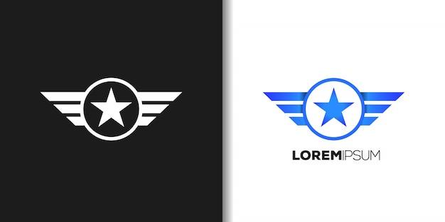 青い飛行機のロゴ