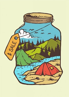 川とレトロなビンテージベクトル図のキャンプファイヤーで山の夏の日