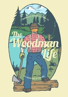 川と山の背景を持つ材木の男