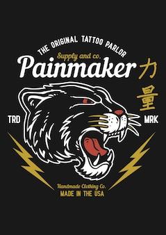 ビンテージタトゥーグラフィックスタイルの黒ピューマヘッドのベクトルイラスト。日本語の漢字は強さを意味します