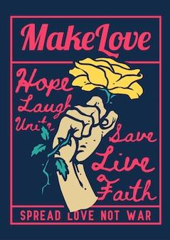 愛とレトロなヴィンテージ色のプロパガンダのバラのシンボルを持っている手のイラスト