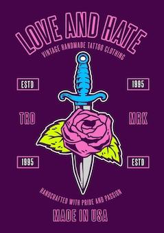 Иллюстрация роза и кинжал винтажном стиле