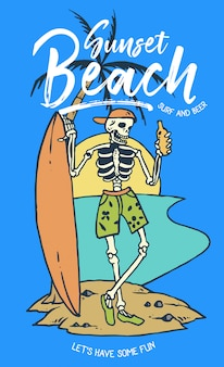 頭蓋骨、ビール、サーフボード