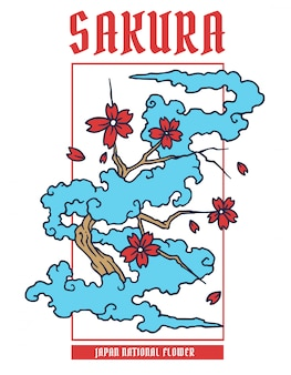 Векторная иллюстрация цветок сакуры японии