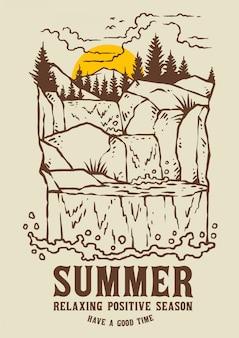 夏の夕日と滝の風景