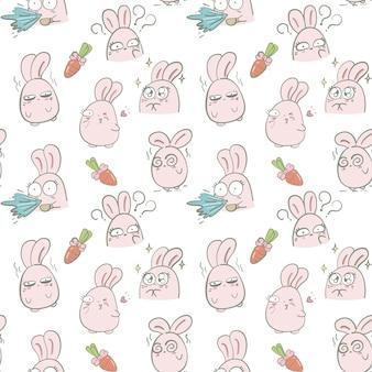 ピンクのバニーと手描きのシームレスパターン