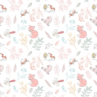 シームレスパターン要素の動物とカラフルな葉、ベクトルイラスト