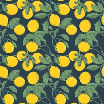 シームレスパターン要素レモン、ベクトルイラスト
