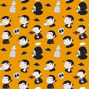 シームレスパターン手描きドラキュラ吸血鬼多くの感情