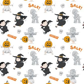 シームレスパターン手描きハロウィーンパーティー多くの感情キャラクター