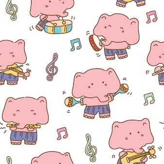 Слон музыкант бесшовный фон