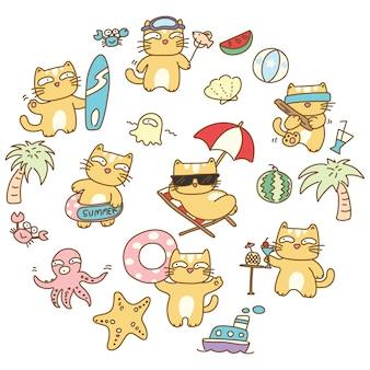 Иллюстрация летней кошки