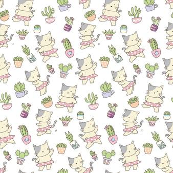 サボテンのシームレスパターンを持つ面白い猫