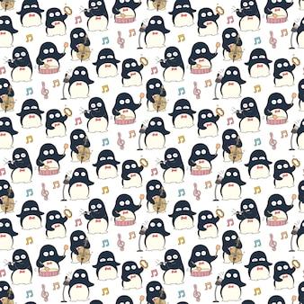 ペンギンミュージシャンのシームレスなパターン背景