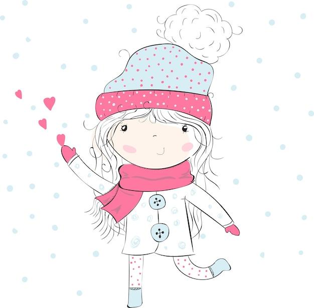Милая девушка в зимней одежде ловит сердца, любовь