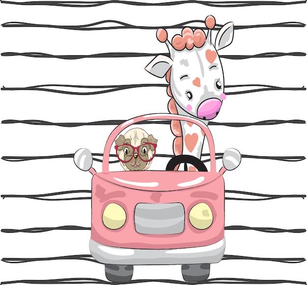 Симпатичный маленький жираф и собака в машине