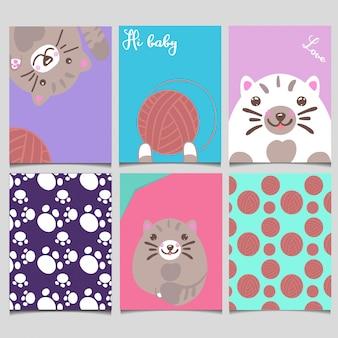 かわいい動物カードセット漫画手描きスタイル