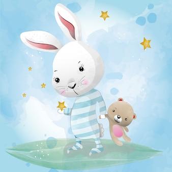 水彩画で描かれた赤ちゃんウサギかわいいキャラクター
