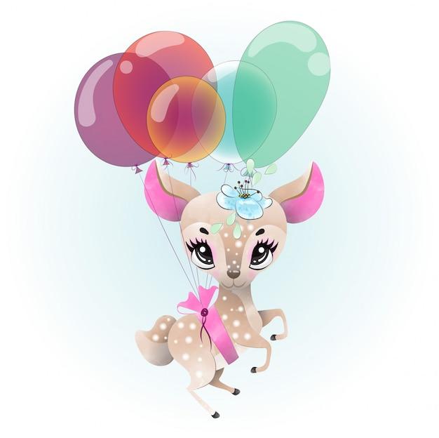 水彩で描かれた赤ちゃん鹿かわいいキャラクター