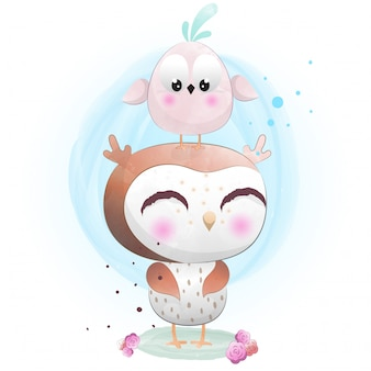 水彩で描かれた赤ちゃんフクロウかわいいキャラクター