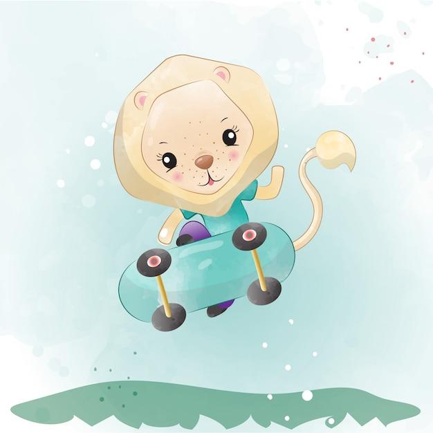 水彩で描かれた赤ちゃんライオンかわいいキャラクター