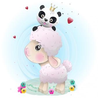 水彩で描かれた赤ちゃん羊かわいいキャラクター
