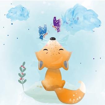 水彩で描かれた赤ちゃんキツネ