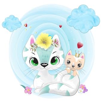 水彩で描かれた赤ちゃん猫