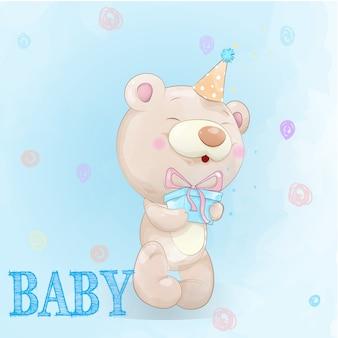 Милый медведь нарисовал акварелью