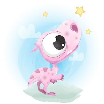 Симпатичный динозавр, нарисованный акварелью