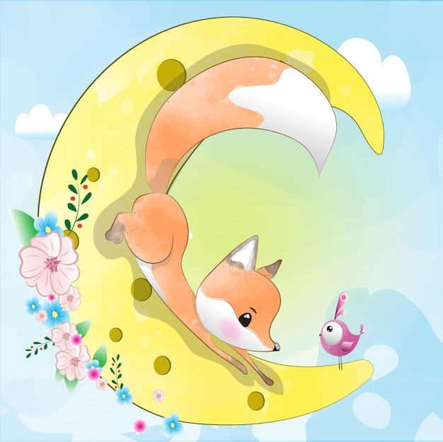 月のかわいい赤ちゃんキツネ。