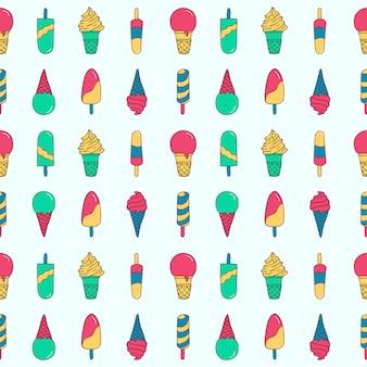 ポップパターンアイスクリームとアイスキャンデー