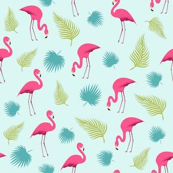 Фламинго и тропический образец лета листьев