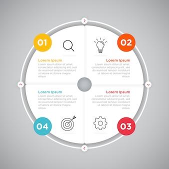 プロセスビジネスインフォグラフィックサークルプレゼンテーション