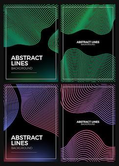 抽象的な線の背景セット
