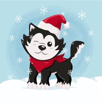 雪の上のかわいいクリスマスハスキー
