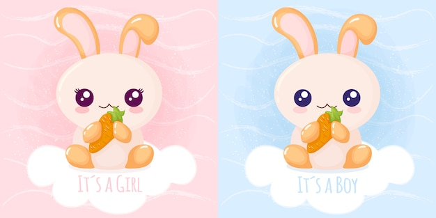かわいいウサギ、女の子、男の子